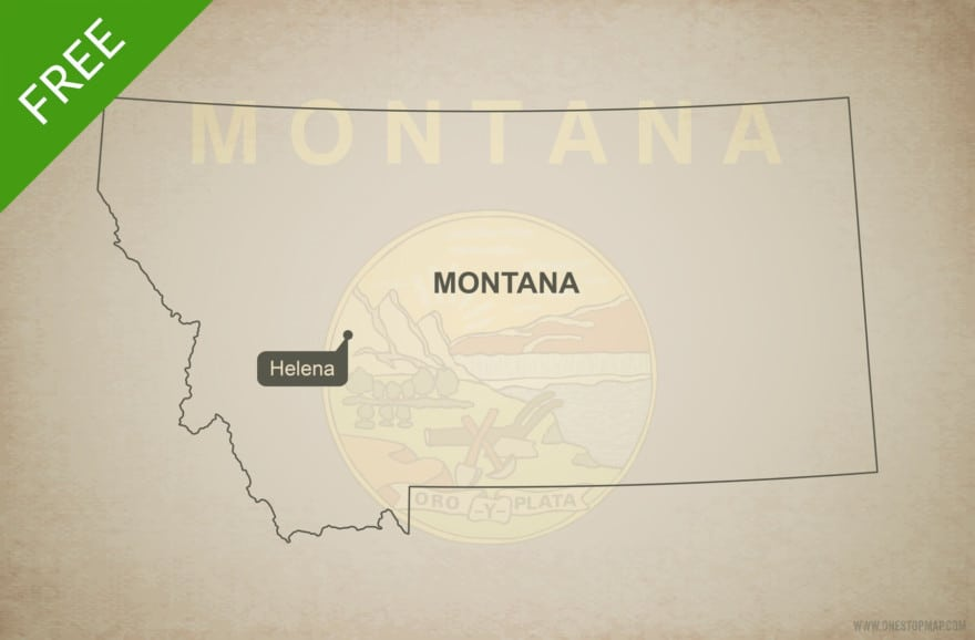 Free blank outline map of the U.S. state of Montana
