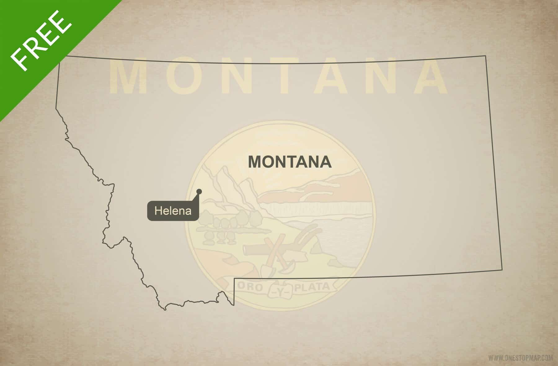 Vector Map Of Montana Political One Stop Map - Montana blank physical map