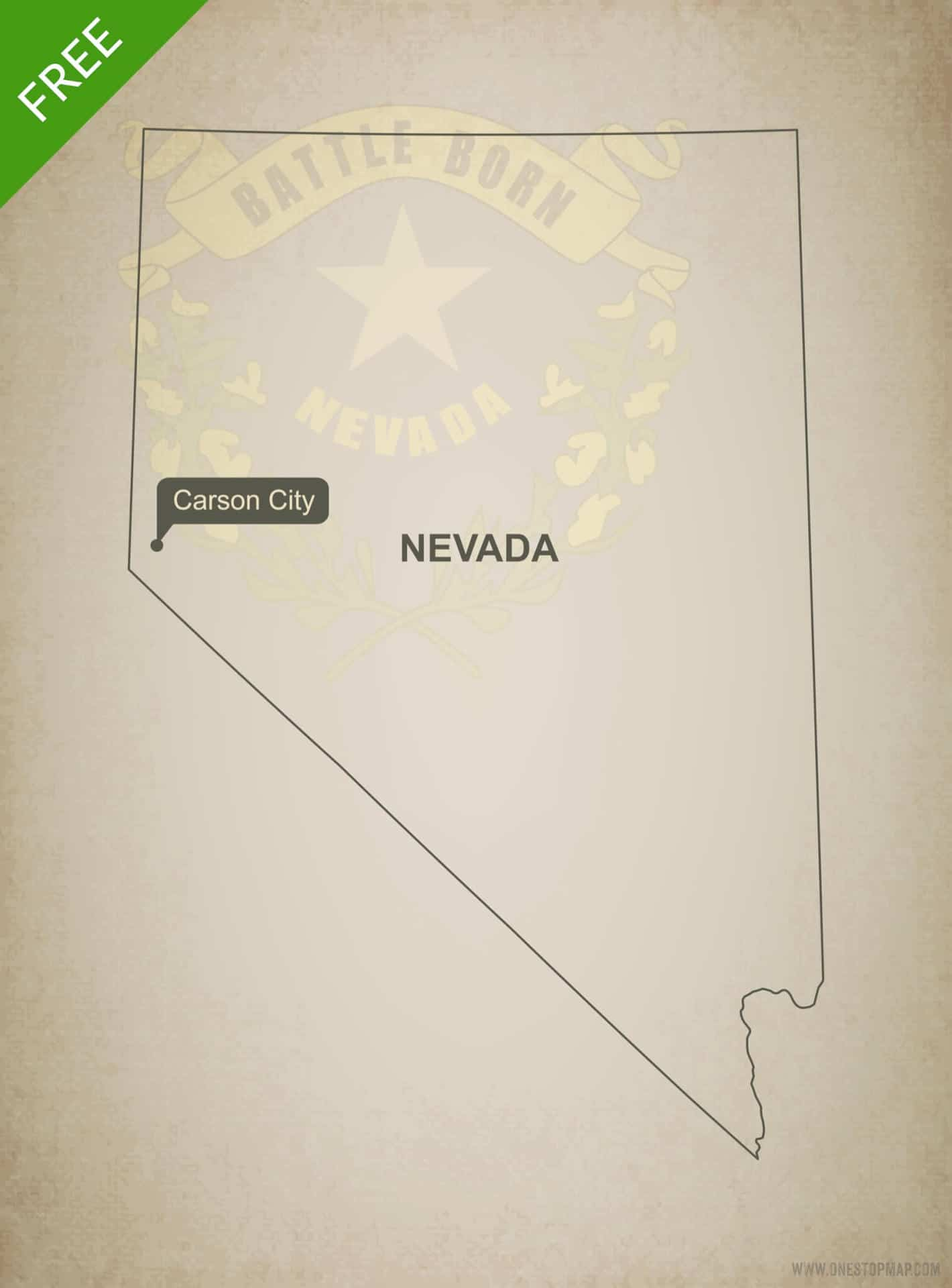 Free blank outline map of the U.S. state of Nevada