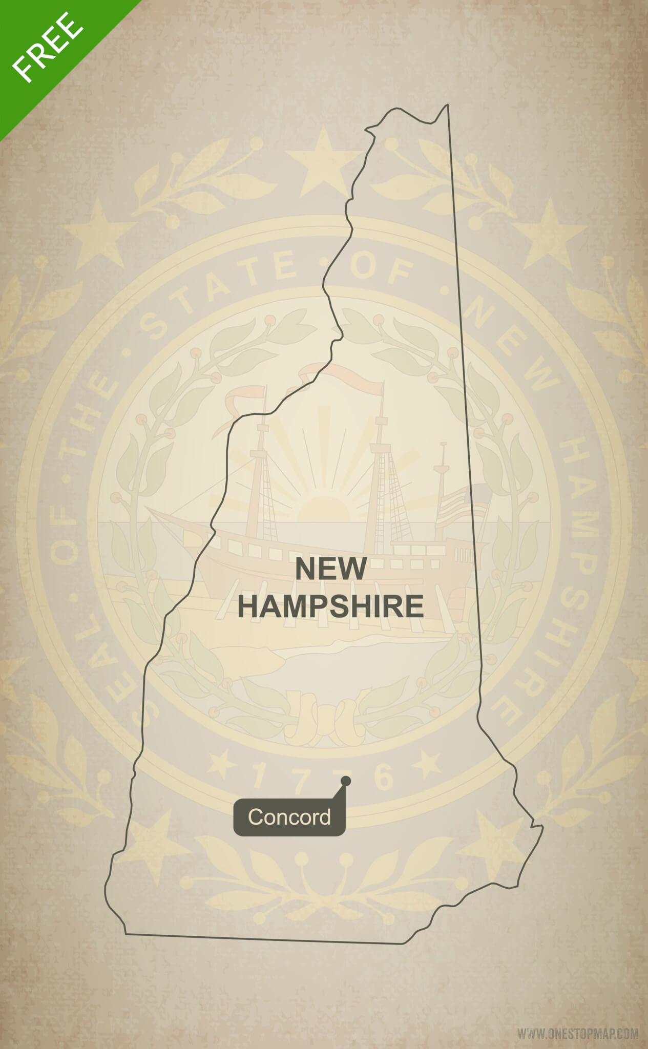 New Hampshire On Map Of Usa.Free Vector Map Of New Hampshire Outline One Stop Map