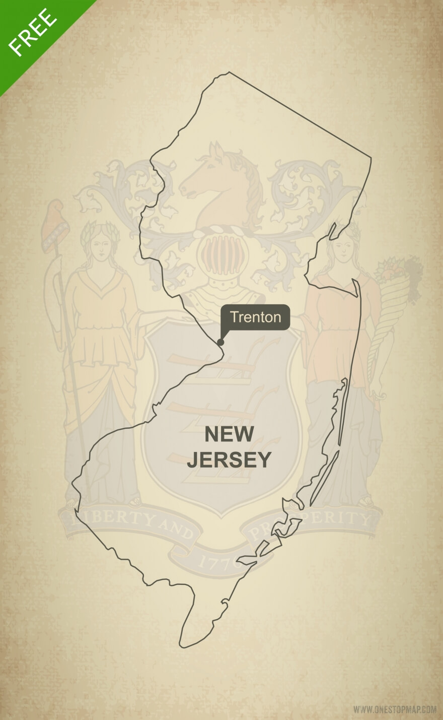 Free blank outline map of the U.S. state of New Jersey