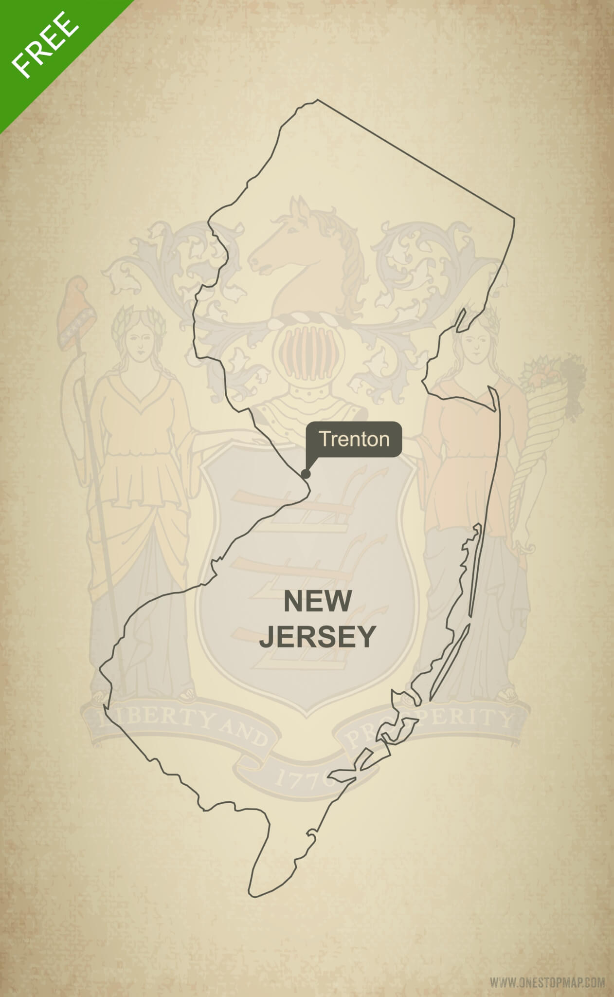 photograph regarding Printable Map of Nj named Totally free vector map of Refreshing Jersey determine One particular Reduce Map