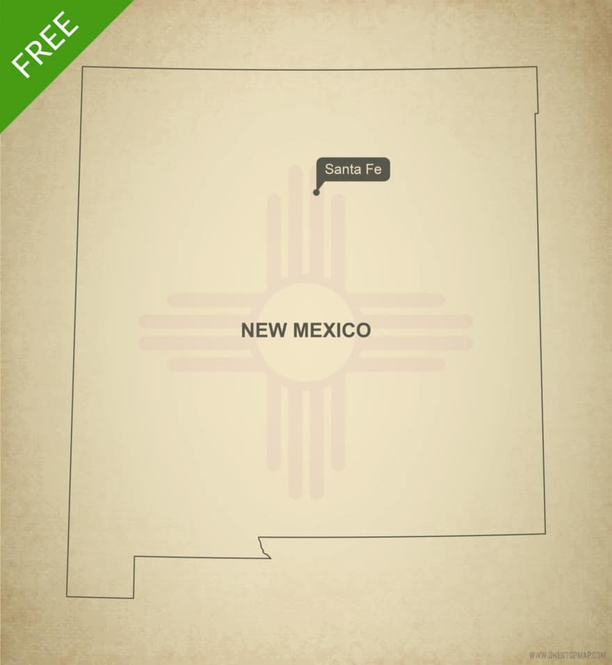 Free blank outline map of the U.S. state of New Mexico