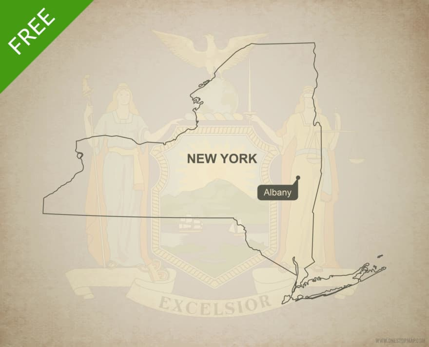 Free blank outline map of the U.S. state of New York