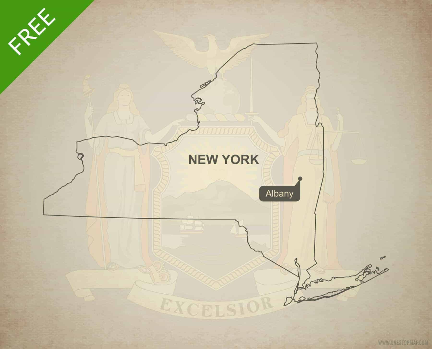 Free Map Of New York City.Free Vector Map Of New York Outline One Stop Map