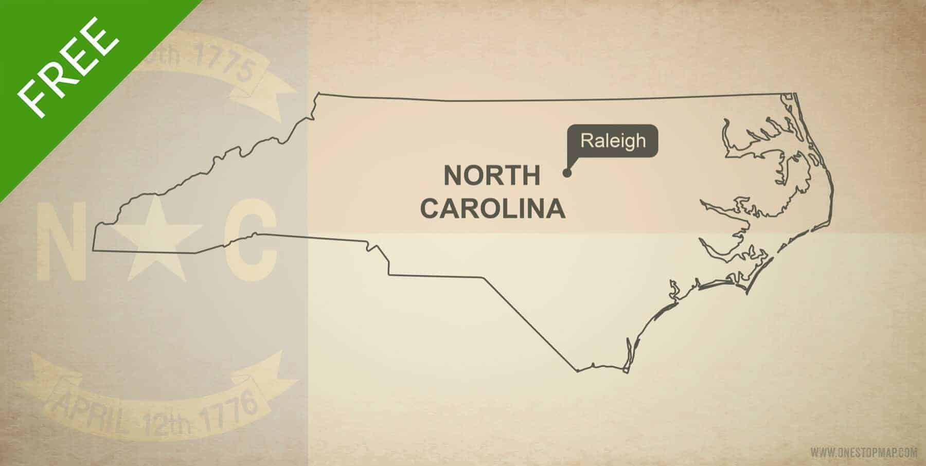 Free Vector Map Of North Carolina Outline One Stop Map - North-carolina-map-of-us