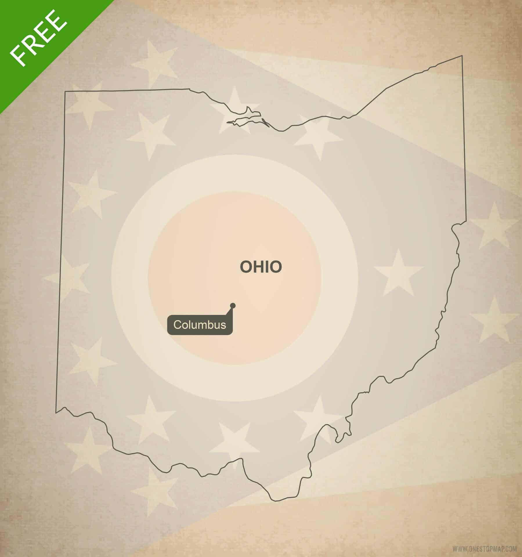Outline Map Of Ohio.Free Vector Map Of Ohio Outline One Stop Map