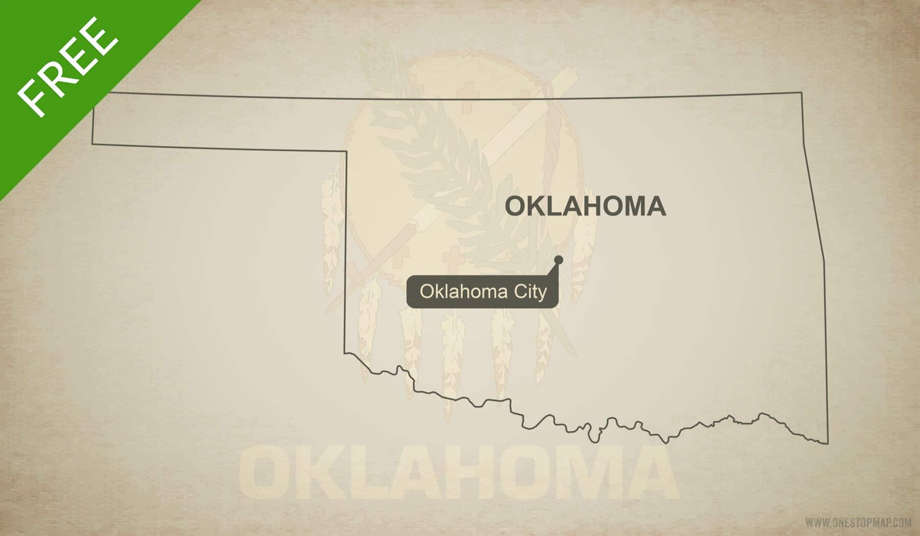 Free Vector Map Of Oklahoma Outline One Stop Map