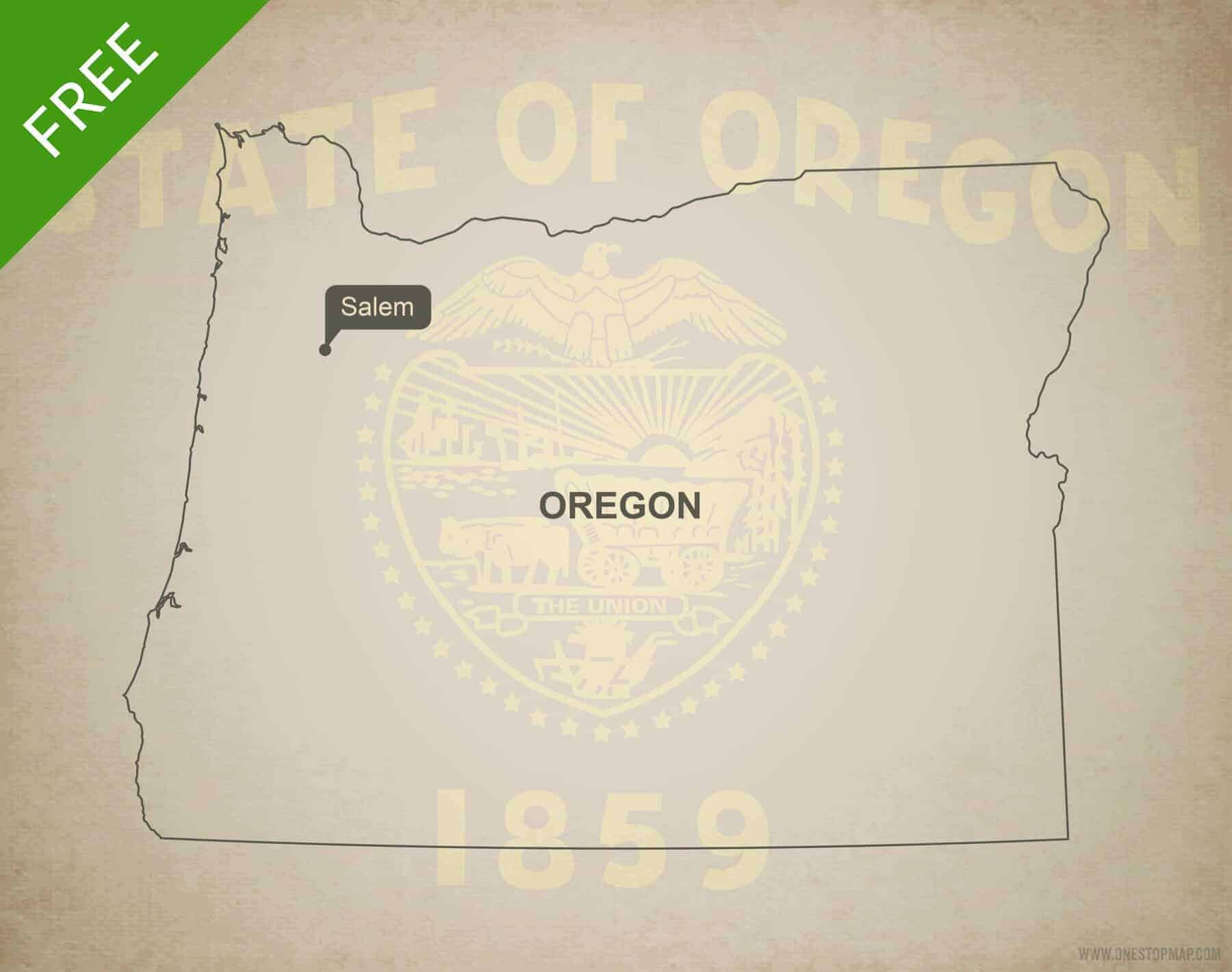 Free blank outline map of the U.S. state of Oregon