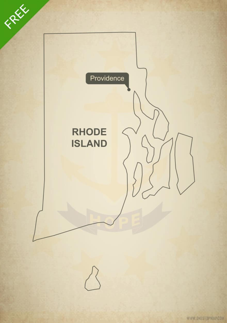 Free blank outline map of the U.S. state of Rhode Island