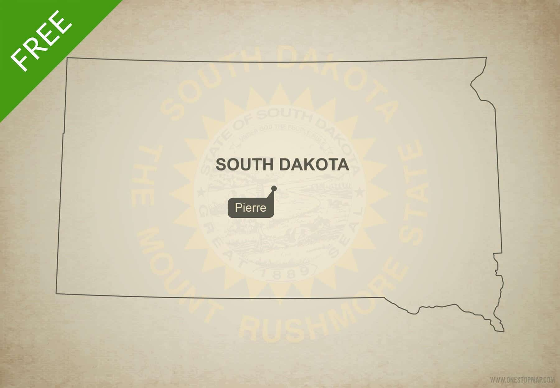 Free Vector Map Of South Dakota Outline One Stop Map - South dakota on the us map