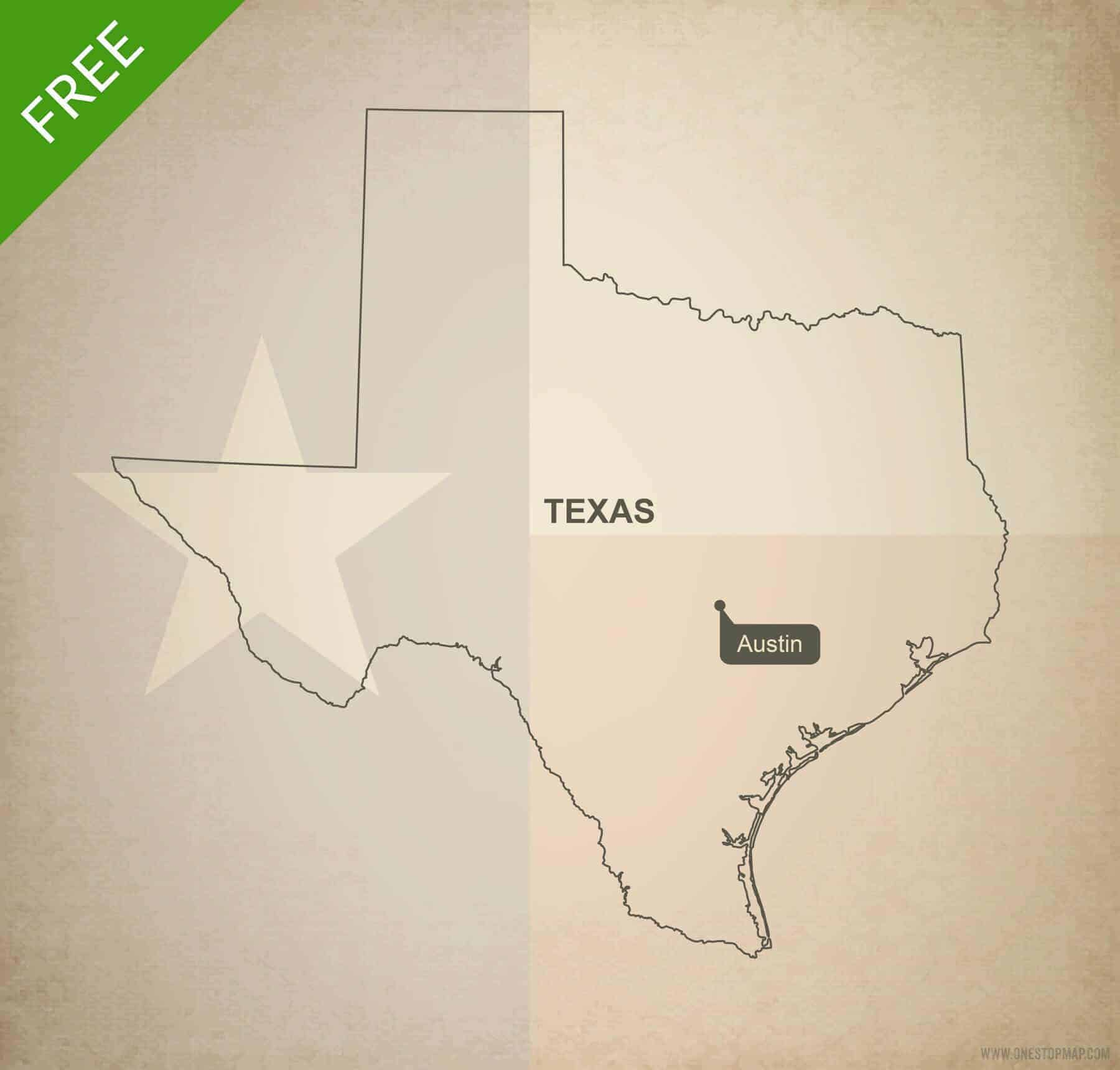 Map Of Texas Us.Free Vector Map Of Texas Outline One Stop Map