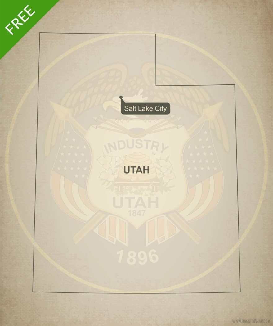 Free blank outline map of the U.S. state of Utah