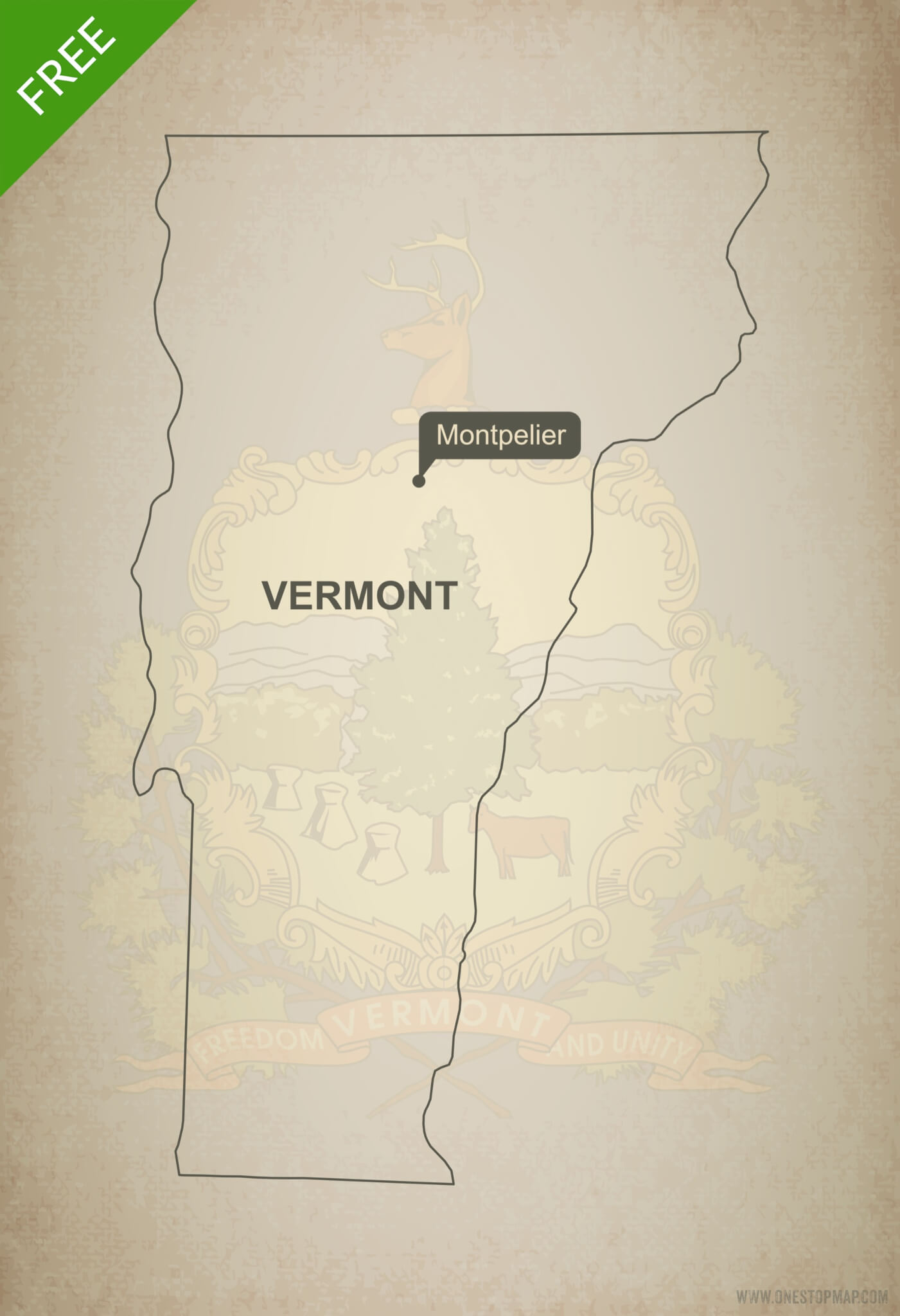 Free Vector Map Of Vermont Outline One Stop Map - Map vermont