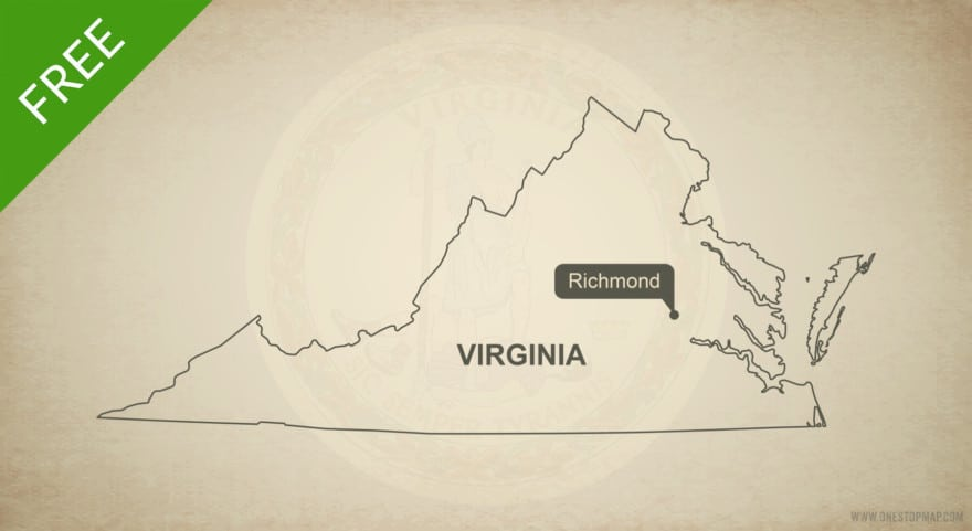 Free blank outline map of the U.S. state of Virginia