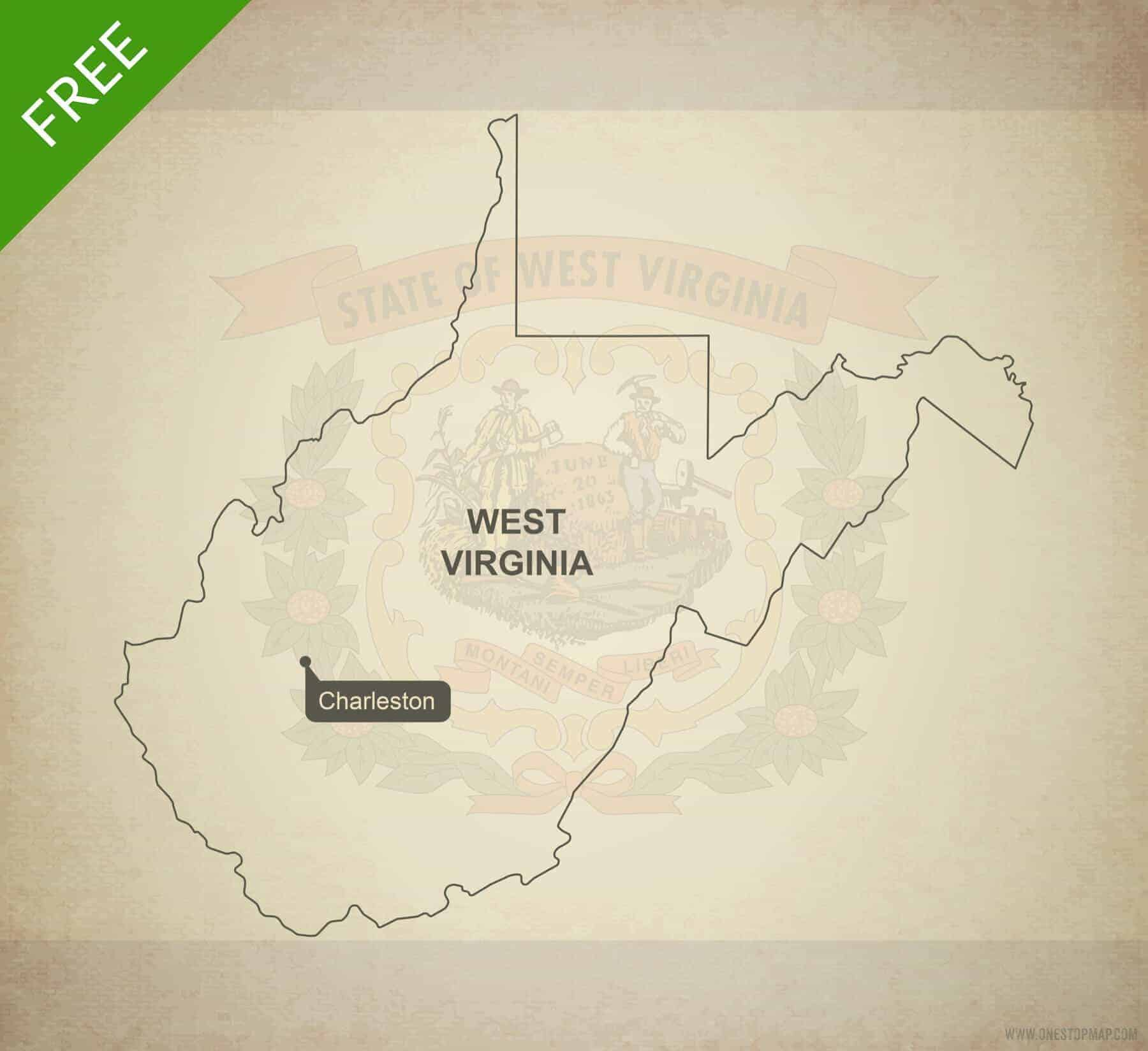Free Vector Map Of West Virginia Outline One Stop Map - West virginia on a map of the us