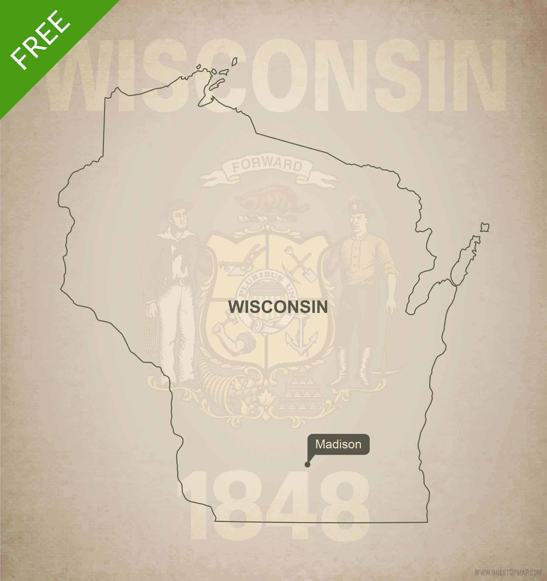 Free Vector Map Of Wisconsin Outline One Stop Map - Wisconsin state map of us