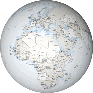 Example of a world map drawn in the Defined map style