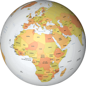 Example of a world map drawn in the Lucid map style
