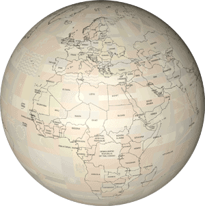 Example of a world map drawn in the Oldline map style