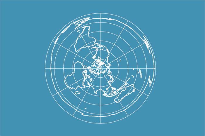Example of a world map in Azimuthal Equidistant projection