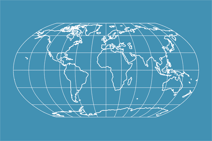 Example world map in Robinson projection