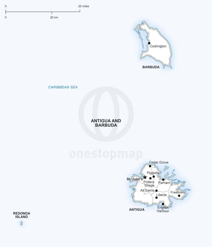 Vector map of Antigua and Barbuda political