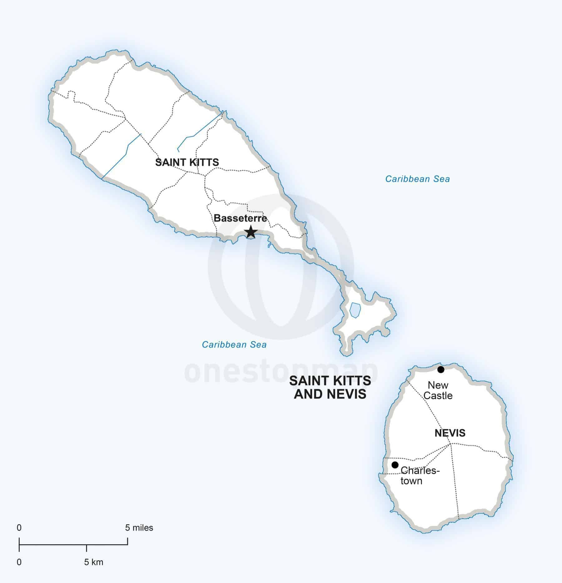 Vector Map of Saint Kitts and Nevis One Stop Map