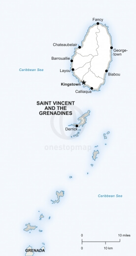 Vector map of Saint Vincent and the Grenadines political