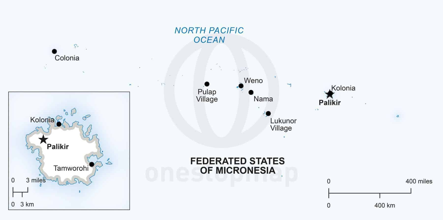 Vector Map of Micronesia Political One Stop Map