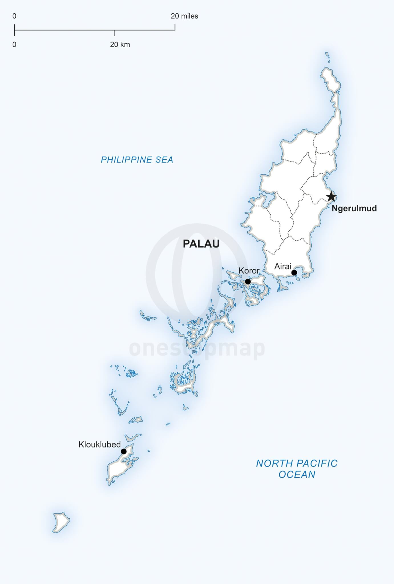 Vector Map Of Palau Political One Stop Map - Koror city map