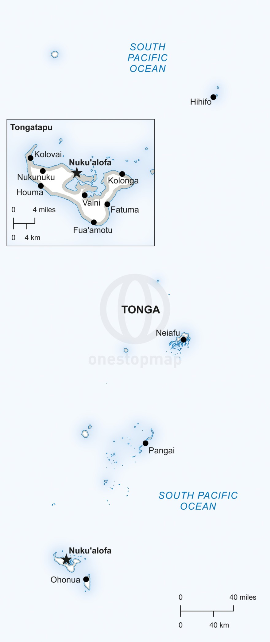 Vector map of Tonga political