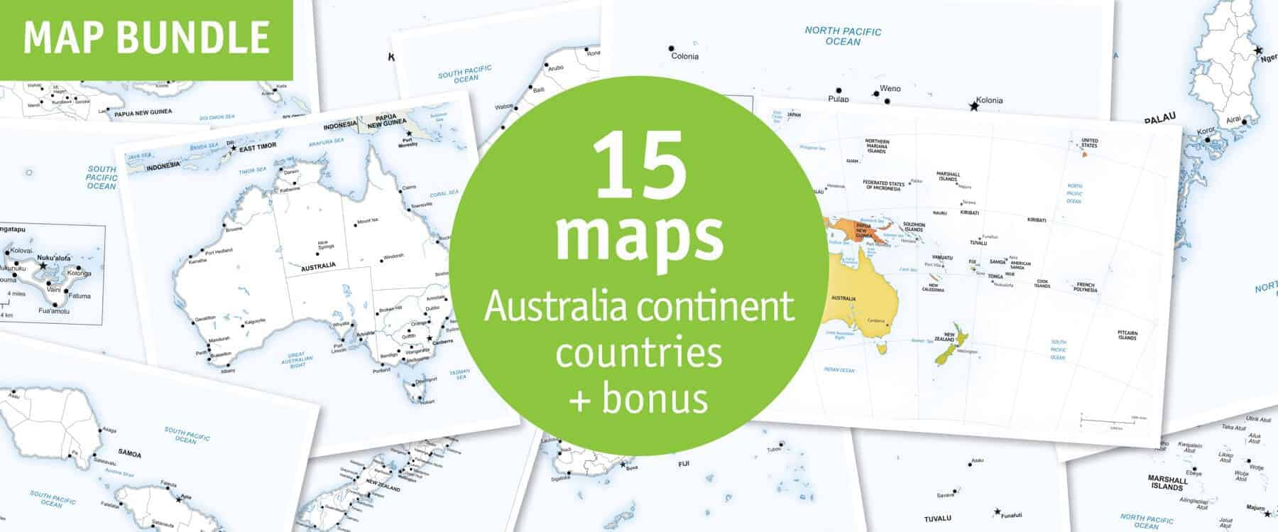 Map Of Australia To Buy.Australia Continent Countries 15 Maps Bundle Discount