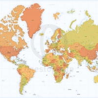Highly detailed world map Africa centered Mercator projection