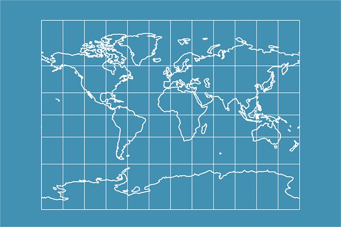 Example world map in Miller Cylindrical projection