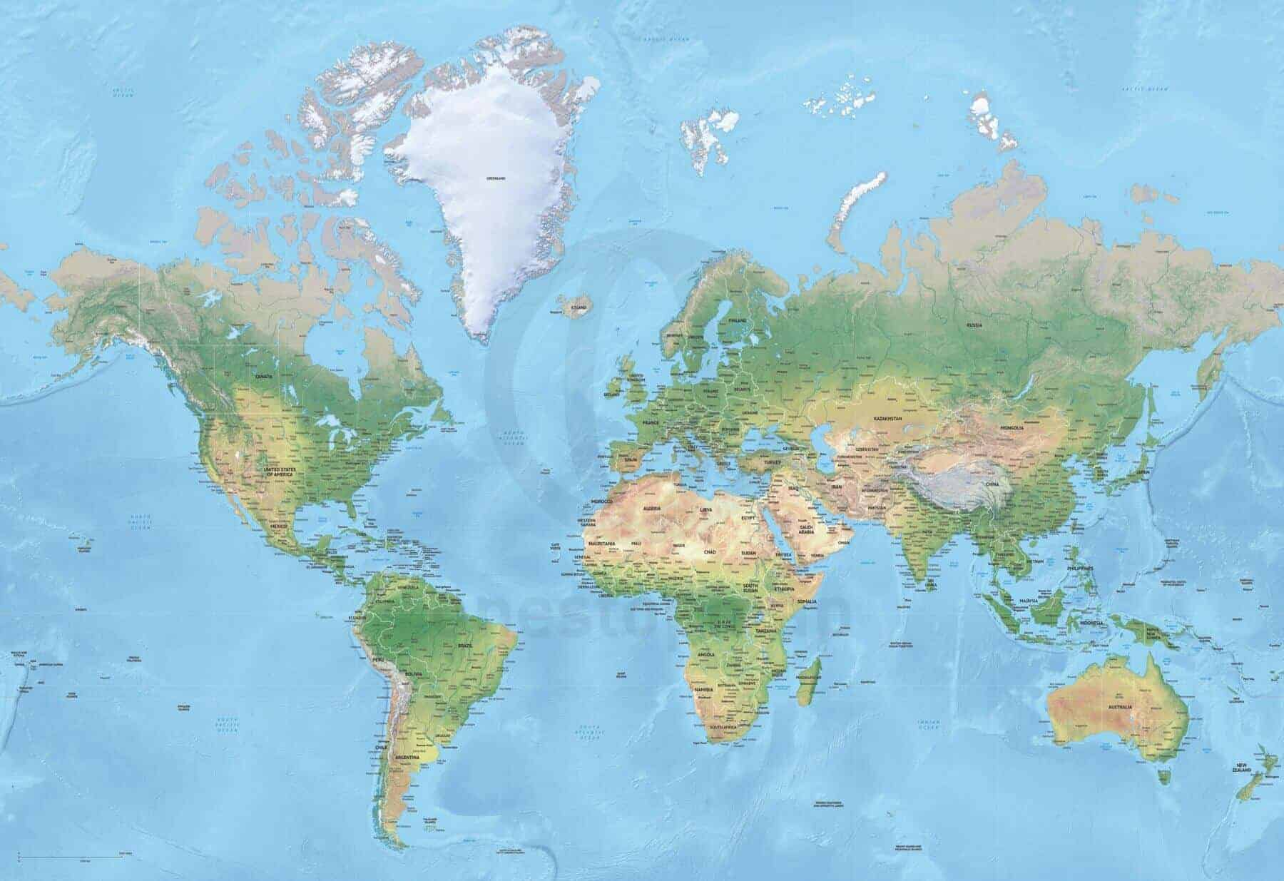 Map of world political shaded relief high detail mercator europe-africa centered