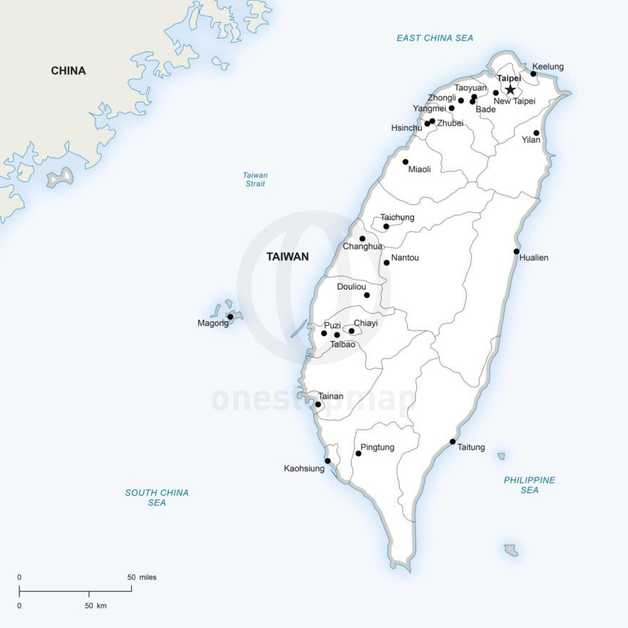 Vector map of Taiwan political