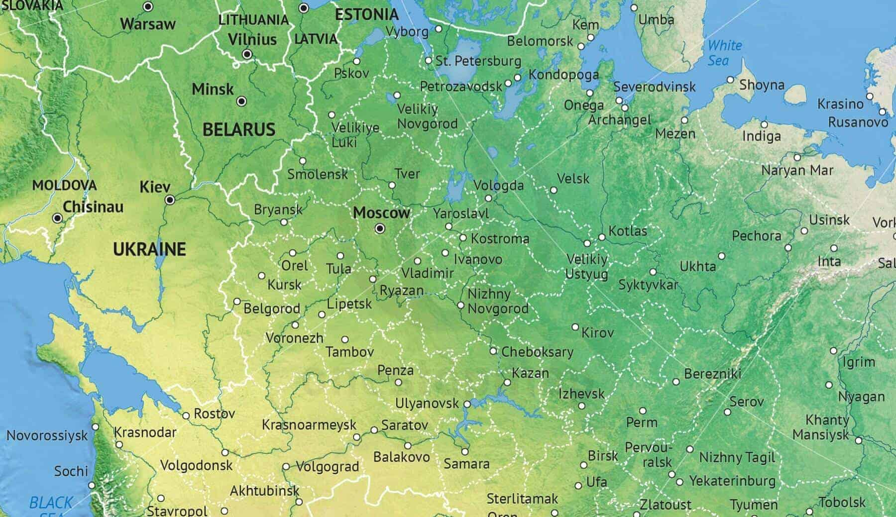 Vector Map Russia political with shaded relief | One Stop Map