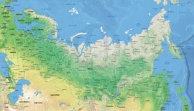 Map of Russia political with shaded relief