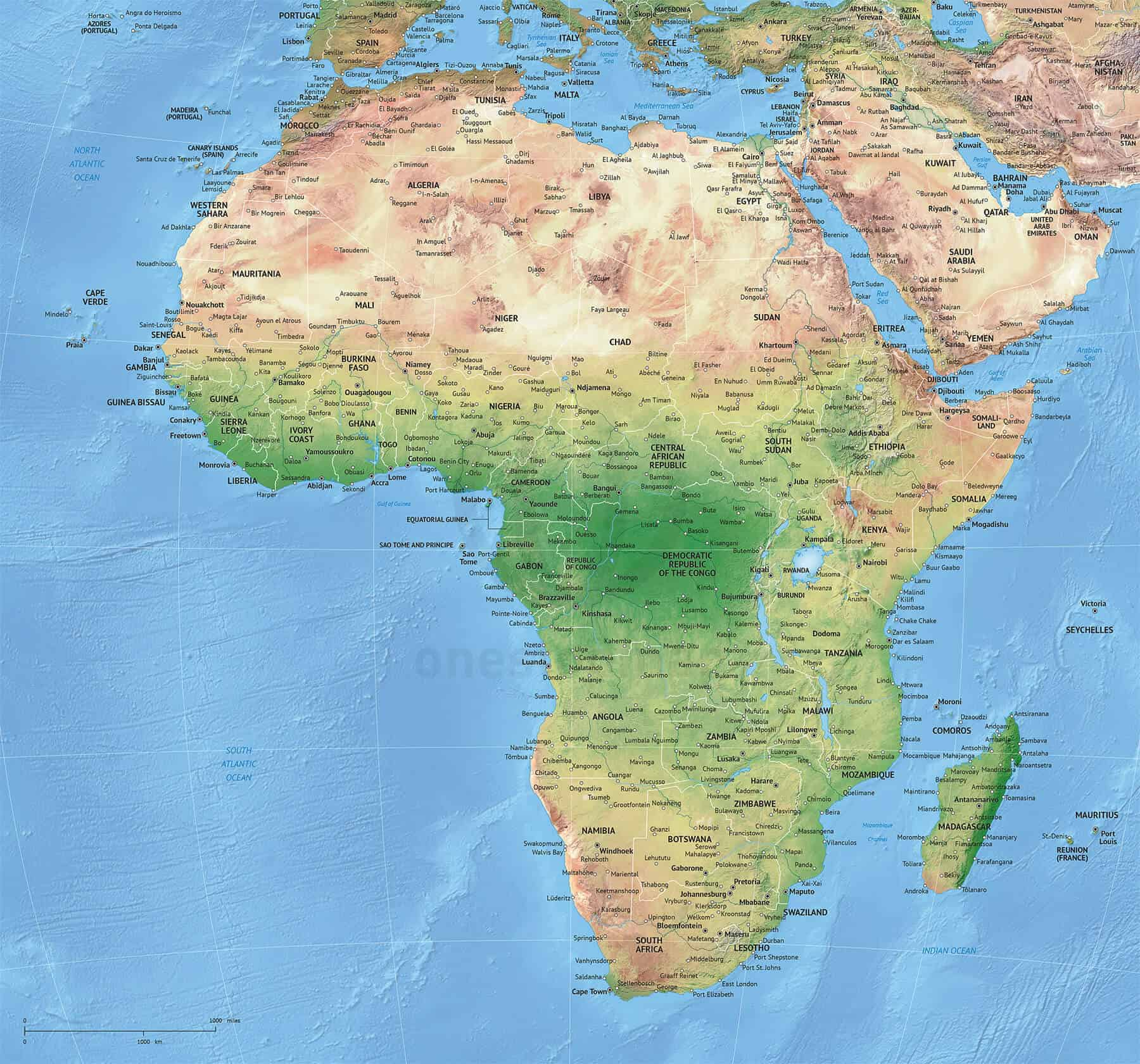 High detail political map of Africa with shaded relief