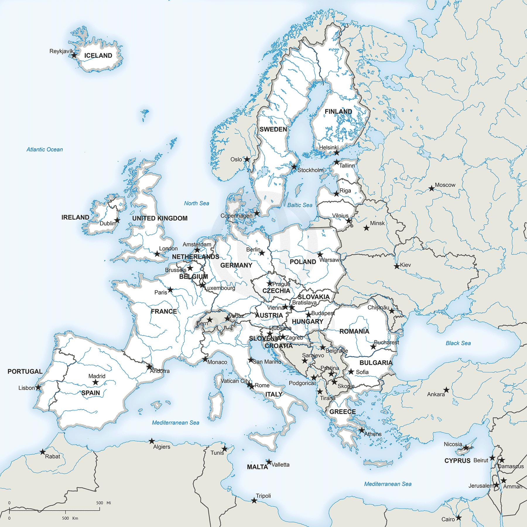 photo regarding Printable European Maps named Map of Ecu Union political