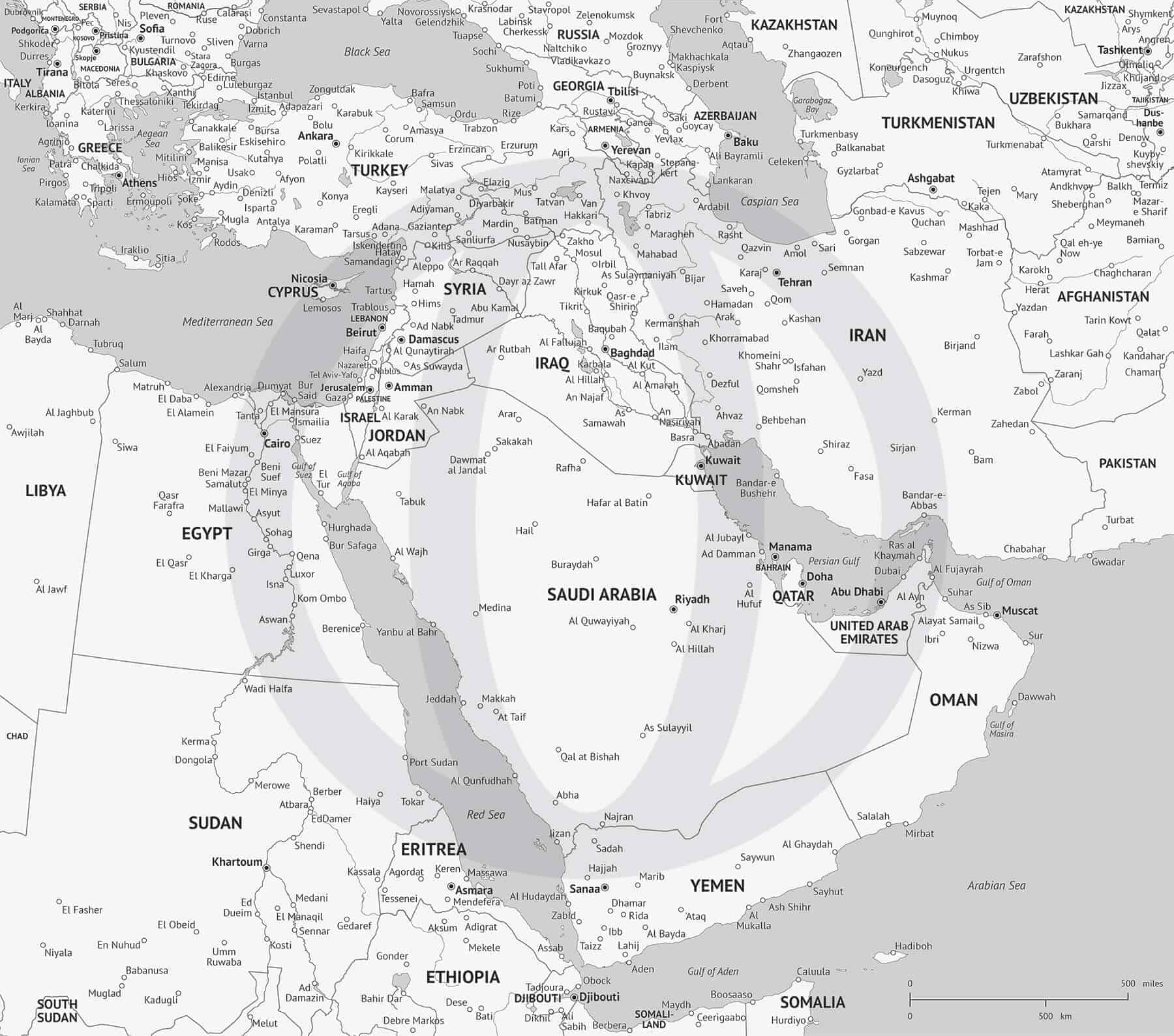 Middle East Political map (high detail)