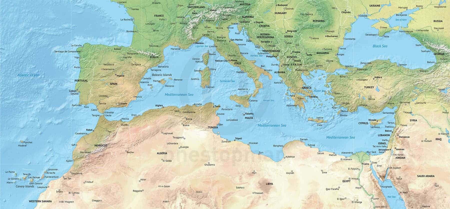 Mediterranean Political Map.Vector Map Of The Mediterranean Political With Shaded Relief One
