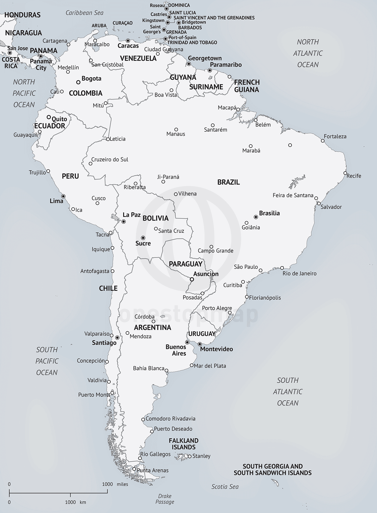 graphic relating to Printable Maps of South America known as Map of South The usa inside Minimalist style and design