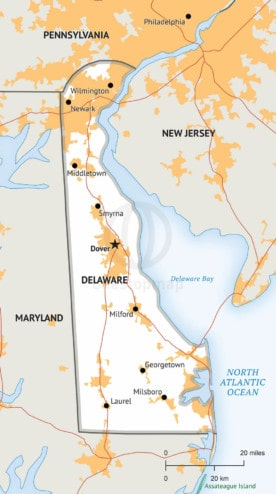 Free vector map of Delaware outline One Stop Map