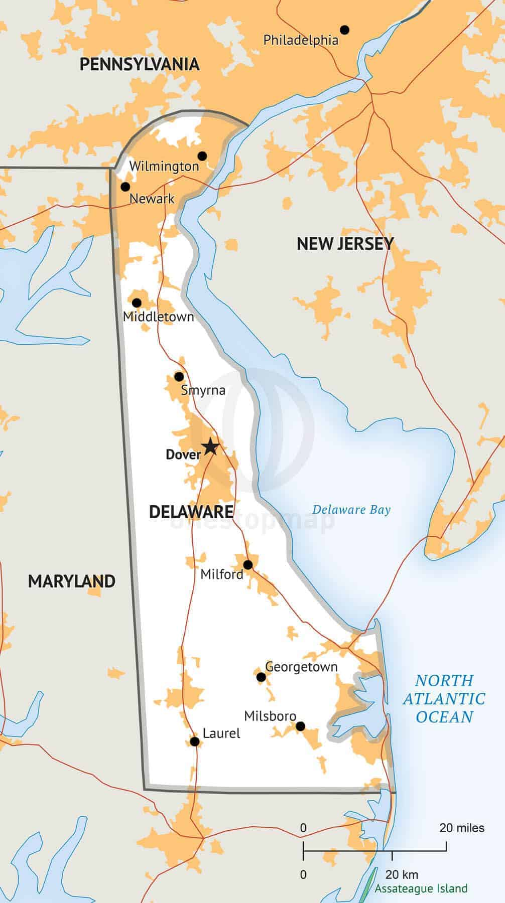 Stock Vector Map Of Delaware One Stop Map - Delaware-on-a-us-map