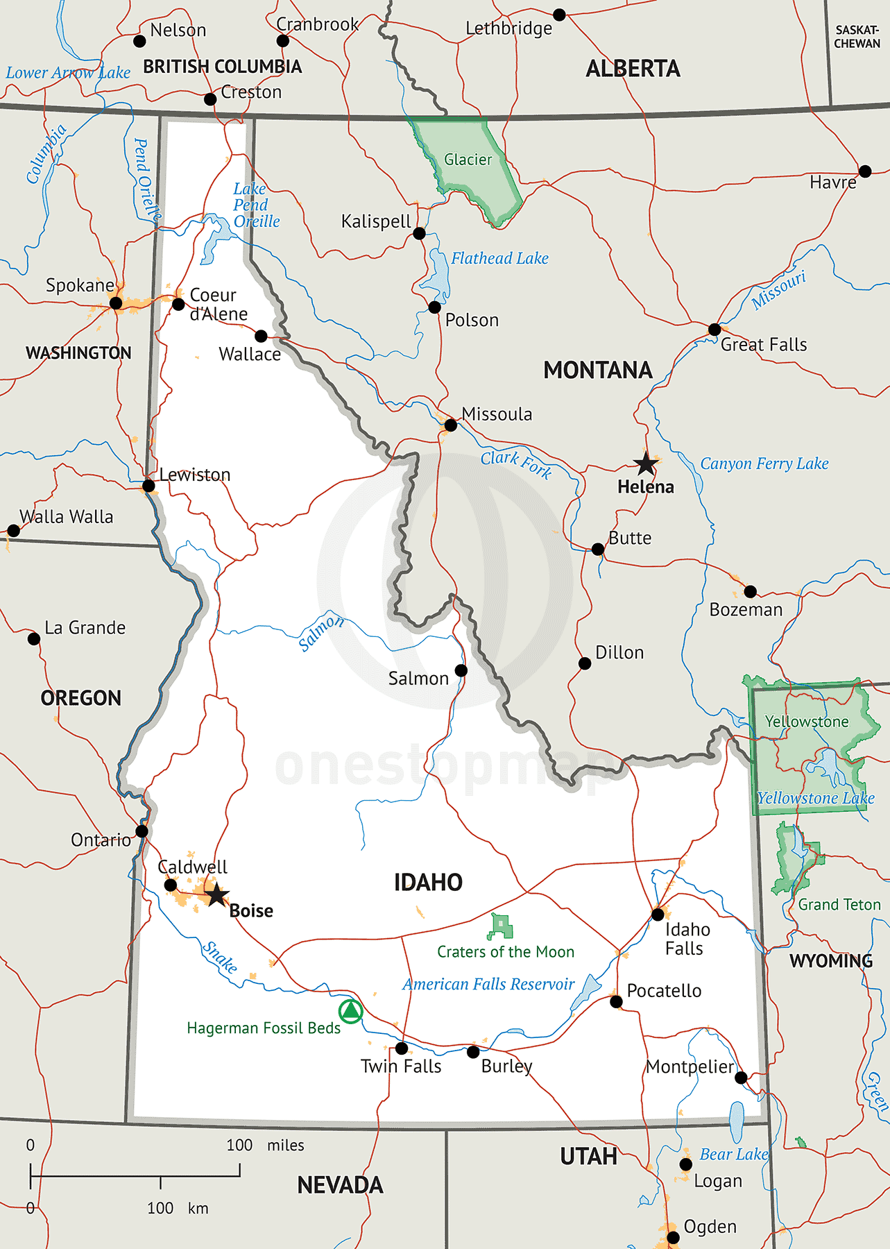 Map of Idaho Defined Plus
