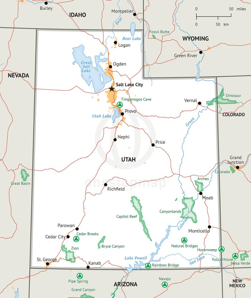 Utah Map, Defined Plus style