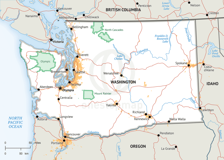 Stock vector map of Washington