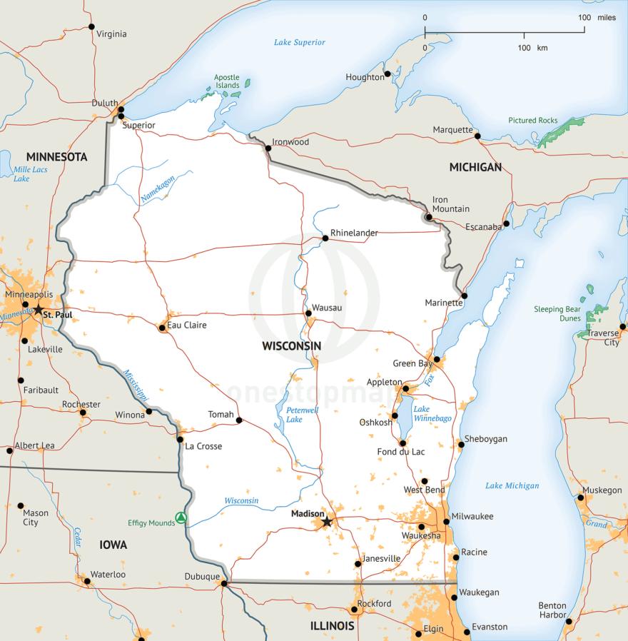 Stock vector map of Wisconsin